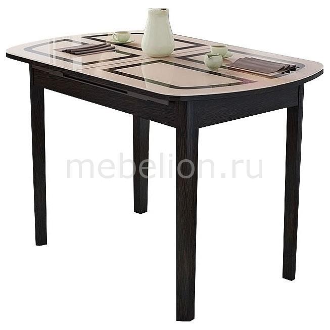 Стол обеденный Мебель Трия Милан венге цаво/бежевый с рисунком мебельтрия стол обеденный ницца см 217 01 1 бежевый с рисунком кожа венге коричневый