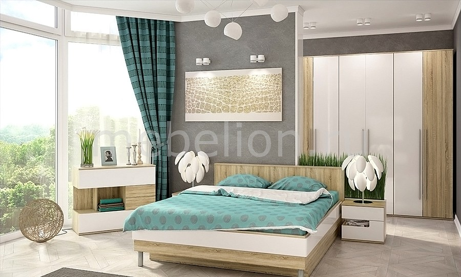 Гарнитур для спальни Ирма 20 дуб сонома/белый глянец