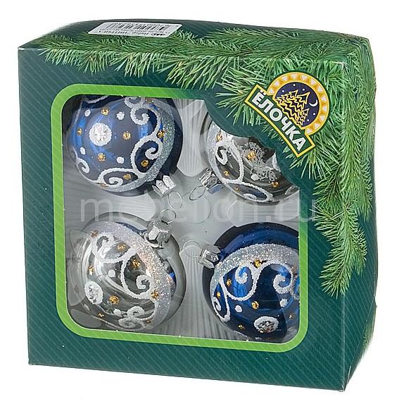 Набор из 4 елочных шаров (6 см) Интрига 860-370