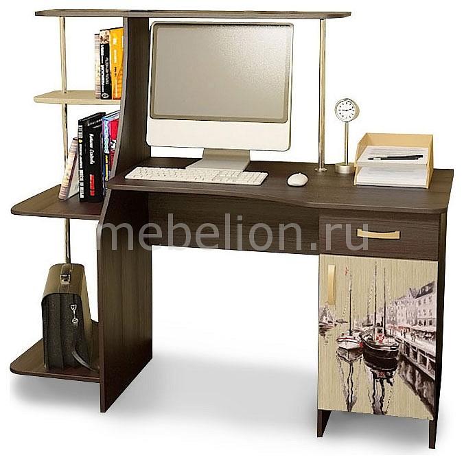 Стол компьютерный Мебель Трия Студент-Стиль (М) венге цаво/дуб молочный с рисунком  стол компьютерный трия школьник стиль м с рисунком венге цаво дуб молочный