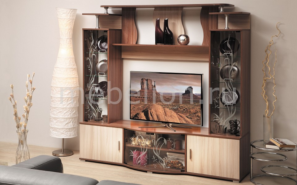Стенка для гостиной Олимп-мебель Виста-18 ясень шимо темный/ясень шимо светлый цены