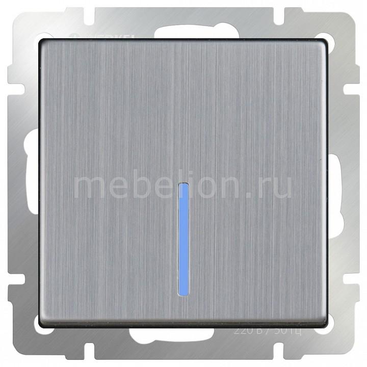 Выключатель проходной одноклавишный с подсветкой без рамки Глянцевый никель WL02-SW-1G-2W-LED