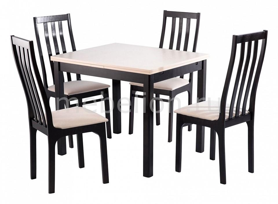Набор обеденный Мебвилл Франц раздвижной большой стеклянный обеденный стол кубика нагано 2 стекло стекло темно коричневое венге