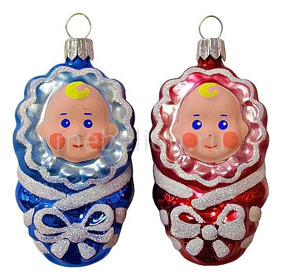 Набор из 2 елочных игрушек (8 см) Малютка 860-173