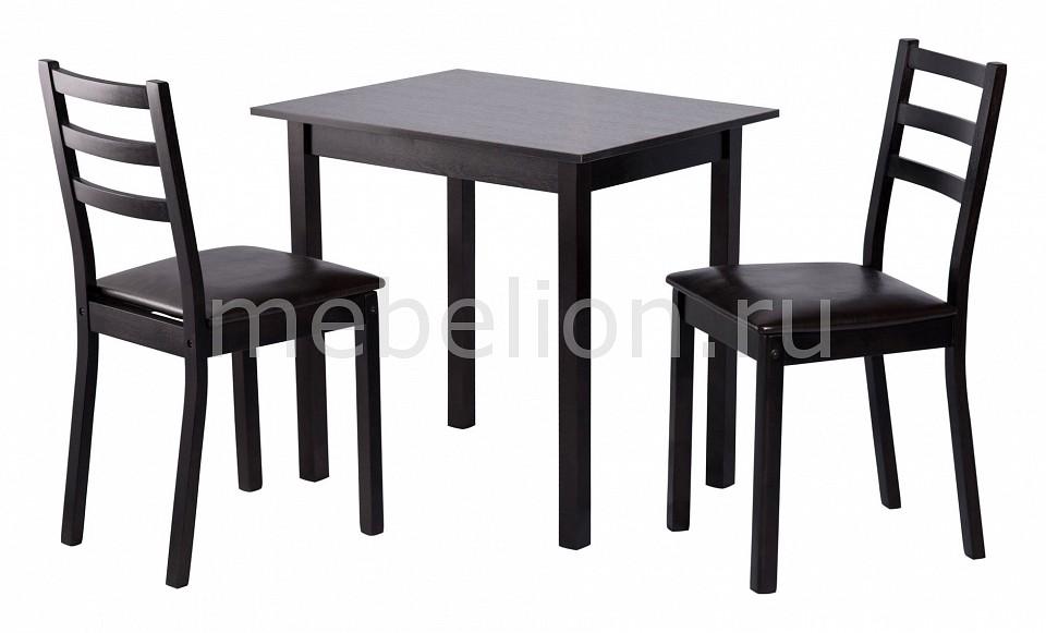 Набор обеденный Мебвилл Рене 2 раздвижной большой стеклянный обеденный стол кубика нагано 2 стекло стекло темно коричневое венге