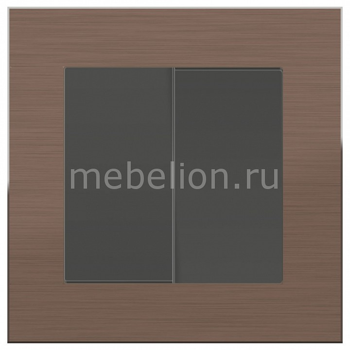 Выключатель двухклавишный Werkel Aluminium (Серо-коричневый) WL07-SW-2G+WL07-SW-2G выключатель двухклавишный с подсветкой серо коричневый wl07 sw 2g led 4690389054037