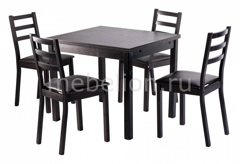 Набор обеденный Мебвилл Рене раздвижной большой стеклянный обеденный стол кубика нагано 2 стекло стекло темно коричневое венге