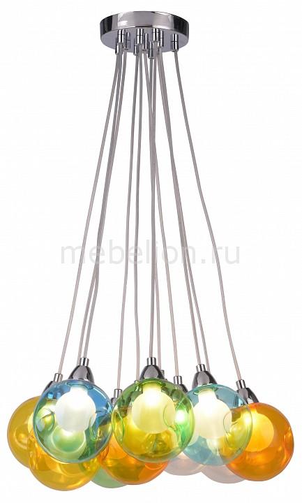 Подвесной светильник Pallone A3026SP-11CC Arte Lamp Артикул - AR_A3026SP-11CC, Бренд - Arte Lamp (Италия), Серия - Pallone, Гарантия, месяцы - 24, Рекомендуемые помещения - Гостиная, Кабинет, Прихожая, Спальня, Высота, мм - 130-1130, Диаметр, мм - 420, Цвет плафонов и подвесок - разноцветный, Цвет арматуры - хром, Тип поверхности плафонов и подвесок - прозрачный, Тип поверхности арматуры - глянцевый, Материал плафонов и подвесок - стекло, Материал арматуры - металл, Лампы - светодиодная [LED], цоколь G9; 220 В; 5 Вт, цвет: белый теплый, 3000 K, Тип колбы лампы - пальчиковая, Класс электробезопасности - I, Общая мощность, Вт - 55, Лампы в комплекте - светодиодные [LED] G9, Общее кол-во ламп - 11, Количество плафонов - 11, Возможность подключения диммера - нельзя, Степень пылевлагозащиты, IP - 20, Диапазон рабочих температур - комнатная температура, Дополнительные параметры - способ крепления светильника к потолку - на монтажной пластине, светильник регулируется по высоте