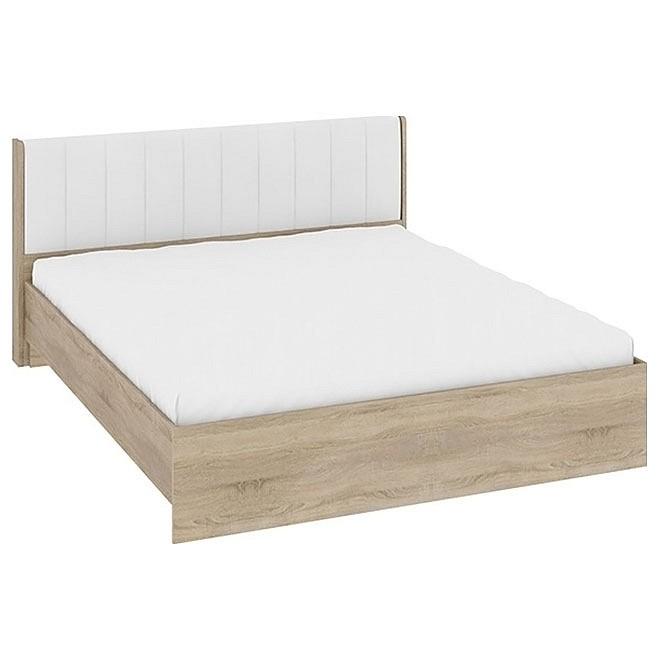 Кровать двуспальная Ларго СМ-181.01.002 дуб сонома/белая кожа mebelion.ru 13990.000