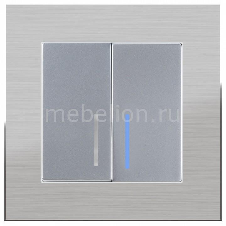 Выключатель двухклавишный с подсветкой Werkel без рамки Aluminium(Серебряный) WL06-SW-2G-2W+WL06-SW-2G-LED  werkel выключатель двухклавишный серебряный wl06 sw 2g 4690389053832