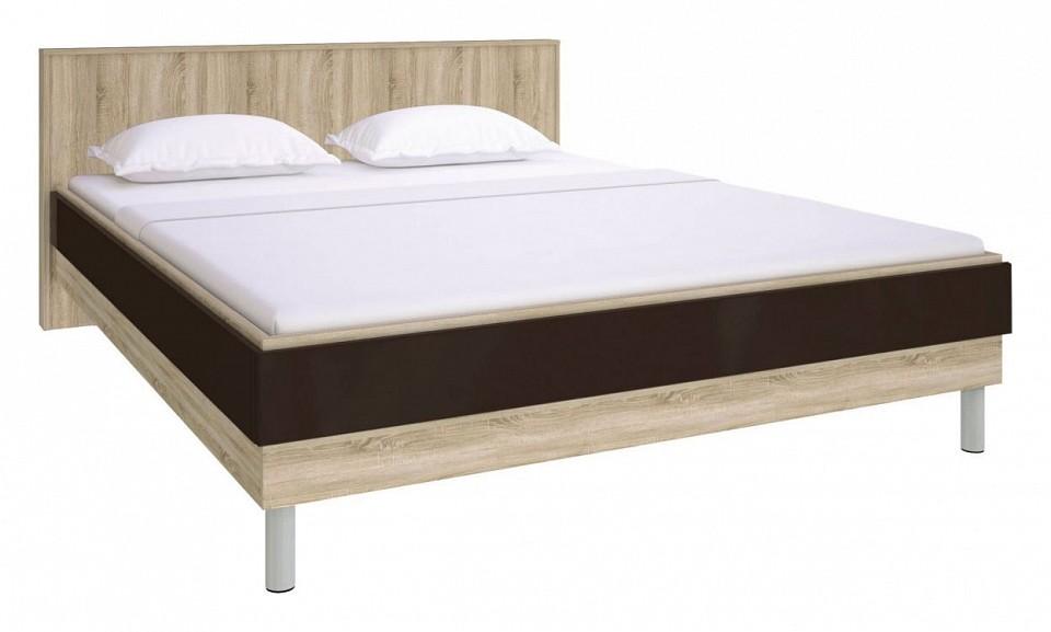 Кровать двуспальная Ирма СТЛ.143.11 дуб сонома/шоколад глянец