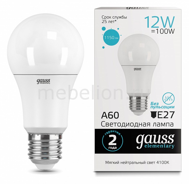 Лампа светодиодная Gauss 232 E27 180-240В 12Вт 4100K 23222