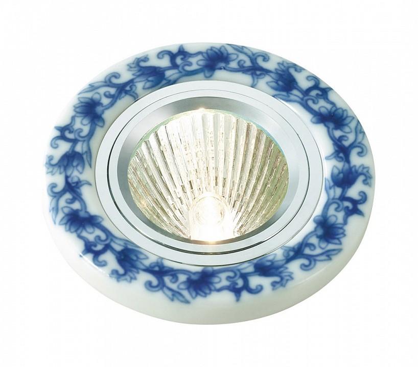 Встраиваемый светильник Novotech Gzhel 369521 novotech 369521 nt11 406 алюминий белый голубой встраиваемый нп светильник ip20 gu5 3 50w 12v gzhel