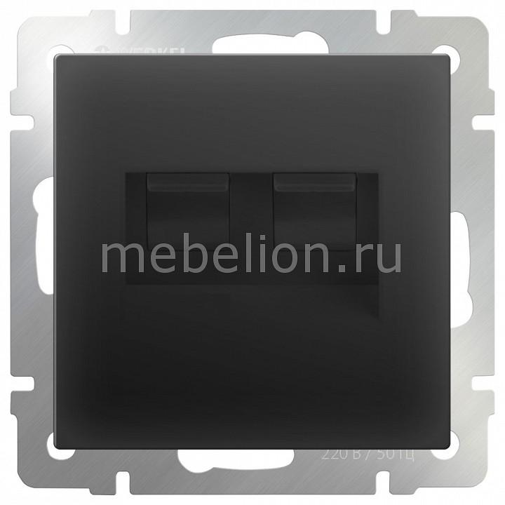Розетка двойная Ethernet RJ-45 без рамки Werkel Черный матовый WL08-RJ45+RJ45 network rj45