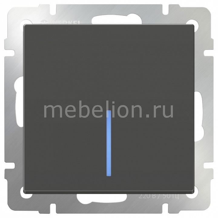 Выключатель одноклавишный с подсветкой без рамки Werkel Серо-коричневый WL07-SW-1G-LED  цена и фото