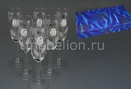 Набор бокалов для шампанского Cristalleria acampora 307-024 weight hoop wh 024 blue and pink