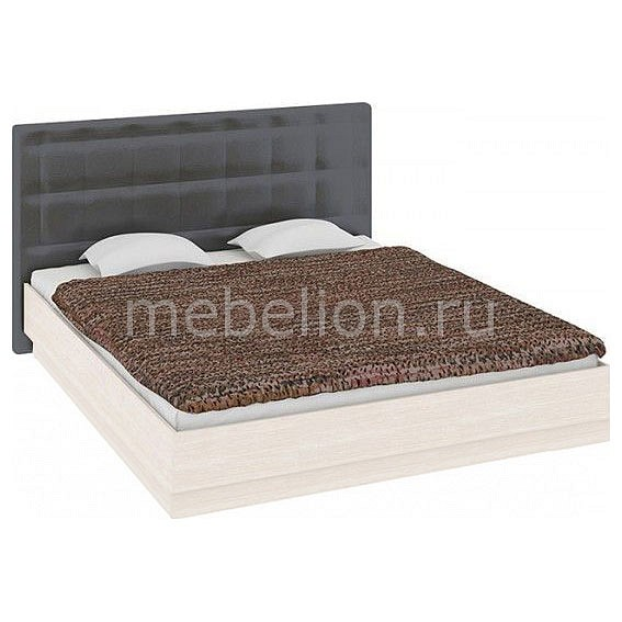 Кровать двуспальная Мебель Трия Токио СМ-131.12.002 дуб белфорт/кожа темная