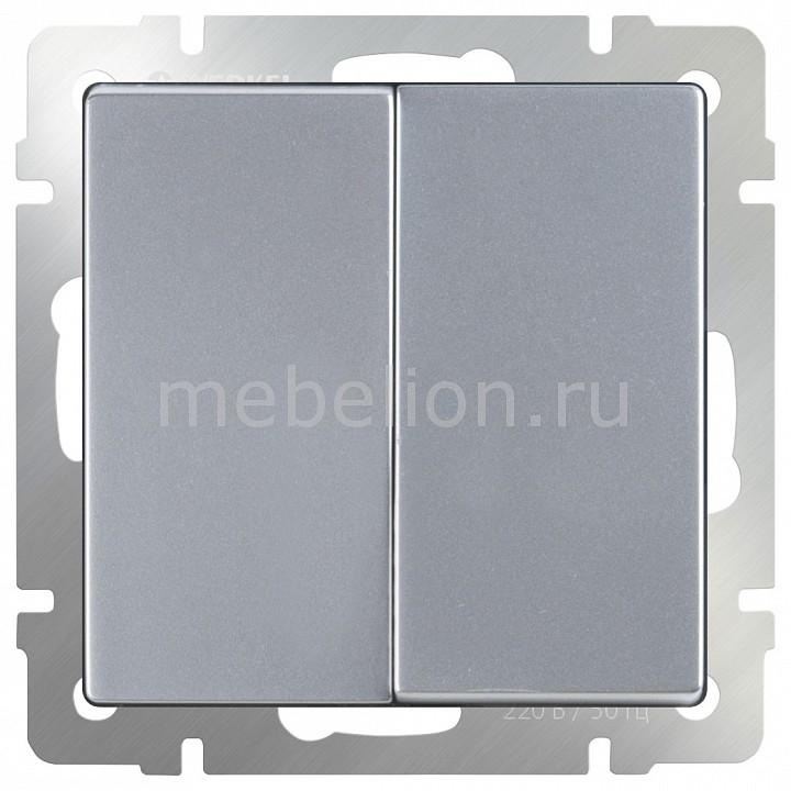 Выключатель проходной двухклавишный без рамки Werkel Серебряный WL06-SW-2G-2W бра colosseo susanna 80311 2w
