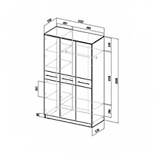 Шкаф платяной Ланс-3