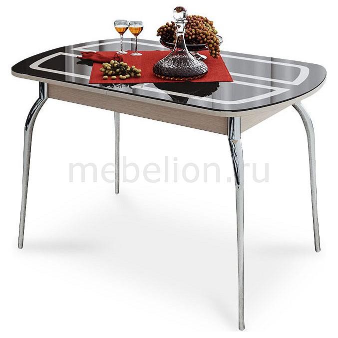 Купить Стол обеденный Милан хром/дуб белфорт/коричневый с рисунком, Мебель Трия, Россия
