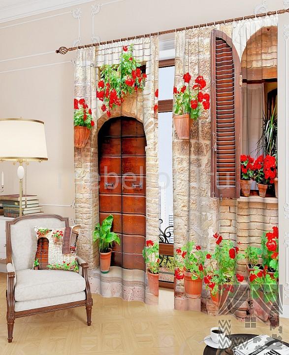 Портьера ТомДом (150х260 см) 2шт. Итальянский дворик веселый дворик машинка