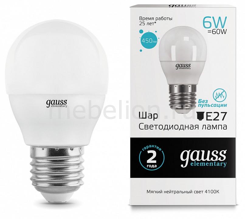 Лампа светодиодная Gauss 532 E27 180-240В 6Вт 4100K 53226