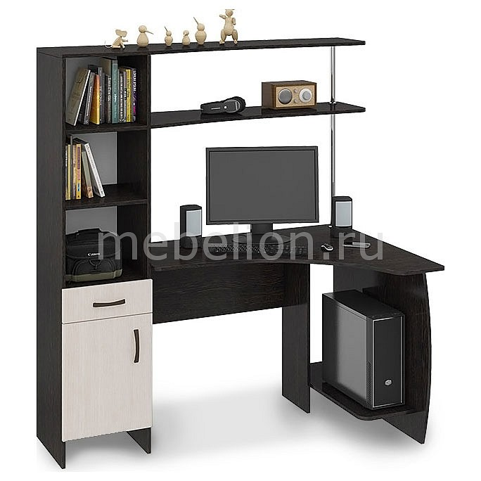 Стол компьютерный Мебель Трия Профи (М) венге цаво/дуб молочный стол компьютерный мебель трия профи м венге цаво дуб молочный с рисунком