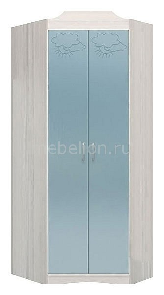 Шкаф платяной угловой Флауэ СТЛ.093.05 сосна авола/шелк бирюза