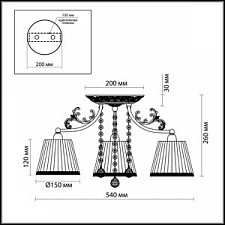 Потолочная люстра Odeon Light 2696/3C Veado