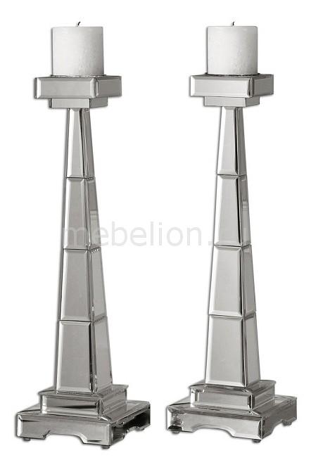Набор из 2 подсвечников декоративных Alanna 19597 Uttermost Артикул - ANK_19597, Бренд - Uttermost (США), Серия - Alanna, Количество - 2, Ширина, мм - 150, Высота, мм - 530, Цвет - серебряный, Материал - зеркало, Тип поверхности - зеркальный