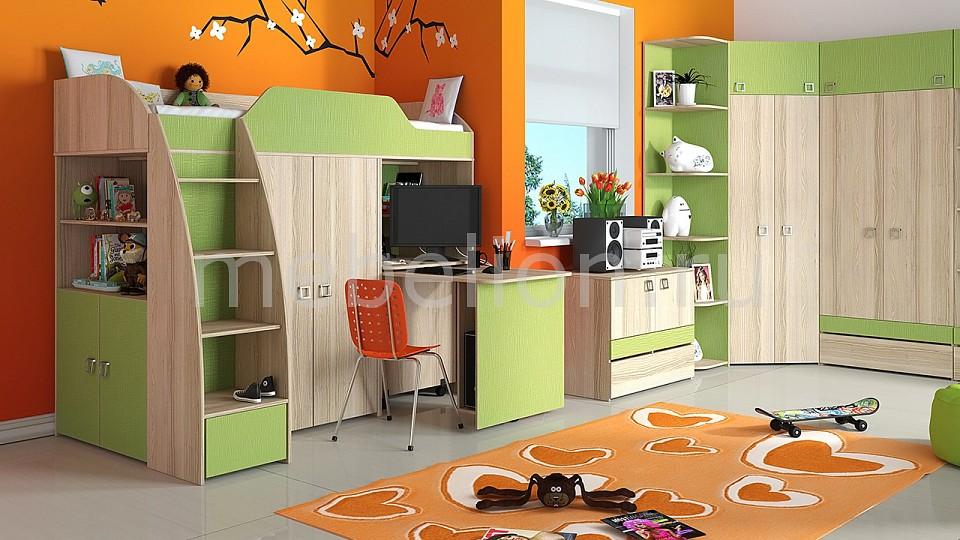 Гарнитур для детской Мебель Трия Радуга-2+Киви ГН-84.00.001 ясень коимбра/панареа