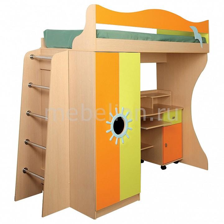 Кровать-чердак Д1 4490227 дуб линдберг/зеленое яблоко/оранжевый