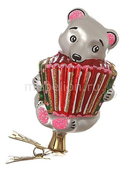 Елочная игрушка (8.5 см) Мишка с гармошкой 860-102