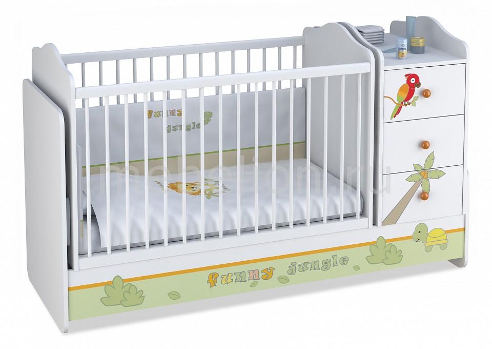 Кроватка-трансформер Polini Polini Basic Джунгли кроватка детская polini kids basic джунгли с комодом белый оранжевый