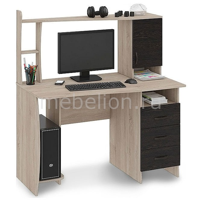 Стол компьютерный Мебель Трия Студент-Класс (М) дуб сонома/венге цаво