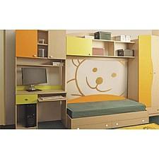 Гарнитур для детской Тони-2 дуб линдберг/зеленое яблоко/оранжевый