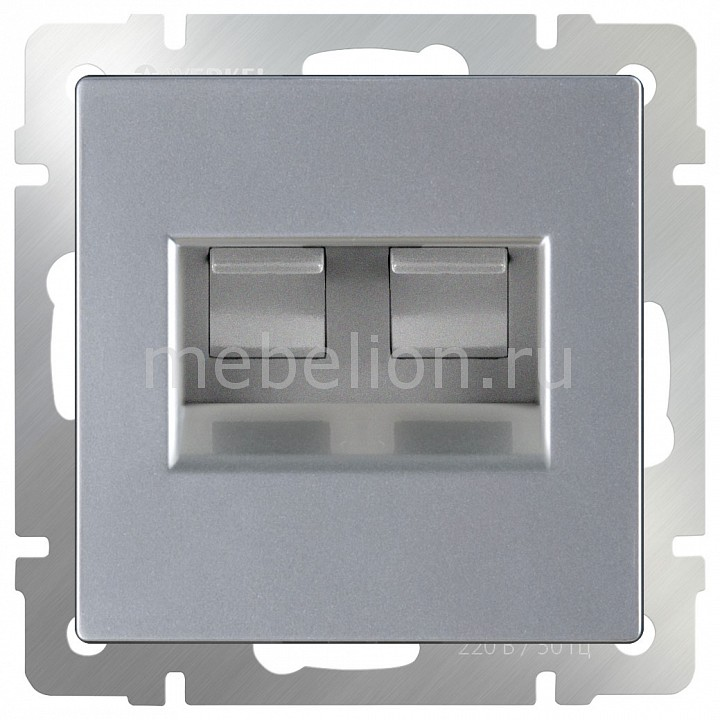 Розетка двойная Ethernet RJ-45 без рамки Werkel Серебряный WL06-RJ45+RJ45 cat6 180 degree angle rj45 ethernet keystone round jack coupler pack of 5