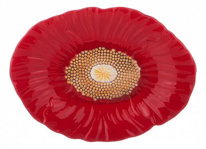 Блюдо декоративное (26х19х3 см) Маковый Цвет 358-1454