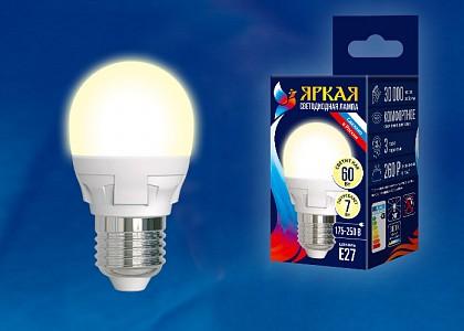 Лампа светодиодная [LED] Uniel E27 7W 3000K