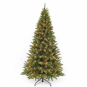 Ель новогодняя [2.3 м] Лесная красавица стройная с лампами зеленая 73900