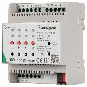 Контроллер-диммер Intelligent KNX-204-DIM-DIN (12-48V, 8x0.35/4x0.7/2x1A)