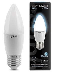 Лампа светодиодная [LED] Gauss E27 6.5W 4100K