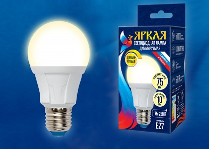 Лампа светодиодная Яркая Dim E27 175-250В 10Вт 3000K LED-A60 10W/3000K/E27/FR/DIM PLP01WH картон