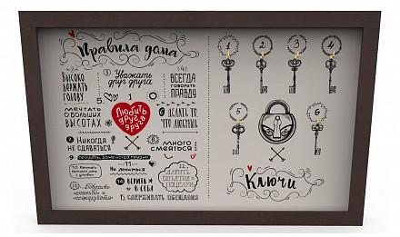 Ключница (45х29 см) Правила дома KD-041-031