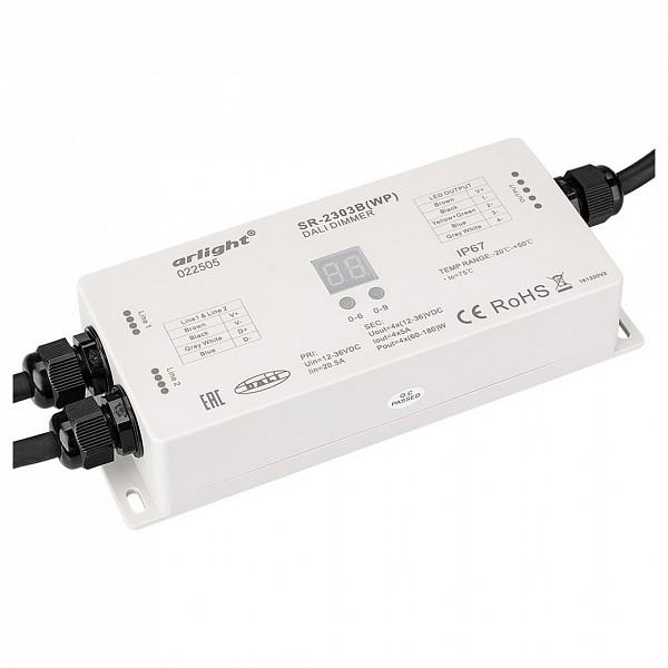 Контроллер-диммер DALI SR-2303BWP (12-36V, 240-720W, 4 адреса, IP67)