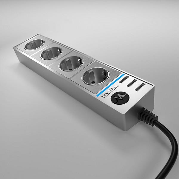 Удлинитель с выключателем Wl20 WL20-04-03 серебряный/серебряный рифленый фото