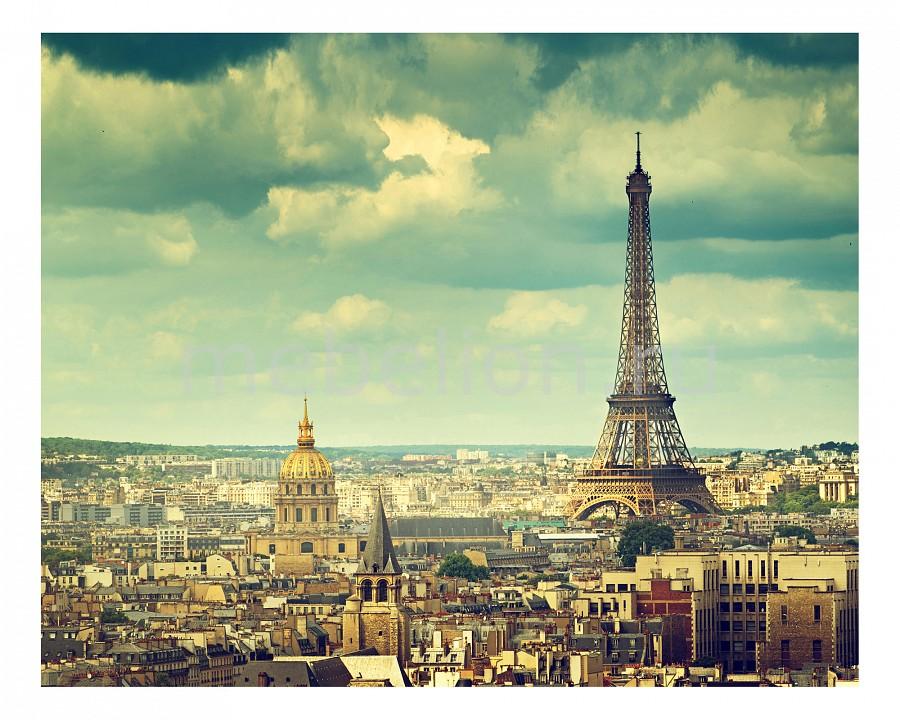 Купить Панно (50х40 см) Париж 1735004К4050, Ekoramka, Россия, бежевый, голубой, дерево, холст