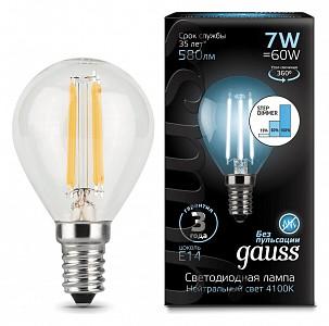 Лампа светодиодная LED Filament Globe E14 185-265В 7Вт 4100K 105801207-S