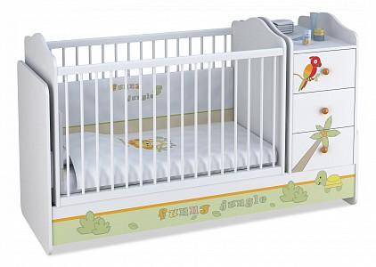 Кроватка-трансформер Polini Basic Джунгли