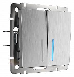 Выключатель проходной двухклавишный с подсветкой без рамки cеребряный рифленый W1122109